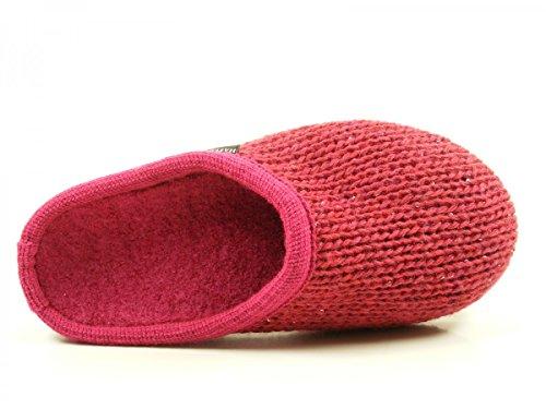 Haflinger 611087 Walktoffel uni Pantofole unisex adulto, schuhgröße_1:40 EU;Farbe:rouge