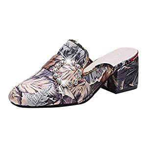 MTENG Women's Wild Toe Slippers Fashion Embroidered Flower Thick with Mid Heel Sandals (35-39)