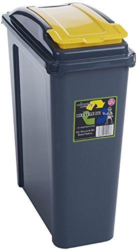 Wham® 12413 Schmaler Abfalleimer Recycling 25 Liter Box GRAU/GELB Mülleimer Eimer