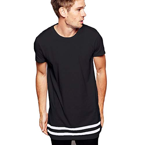 - Short Sleeve T Shirts for Men Casual Summer Solid Color Splice Hem Top Blouse (S, Black)