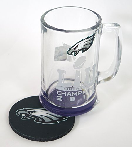 Philadelphia Eagles Champions Beer Glass 16 oz, and Coaster. (Eagles Memory Philadelphia)