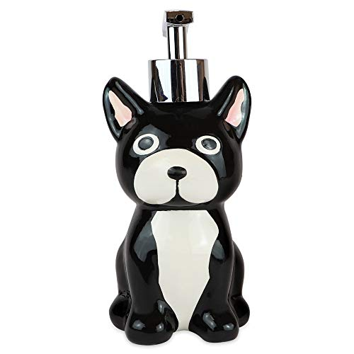 Isaac Jacobs Black and White Ceramic Dog, Liquid Soap Pump/Lotion Dispenser with Chrome Metal Pump (Holds Up to 9 Oz)- Great for Bathroom, Kitchen Countertop,