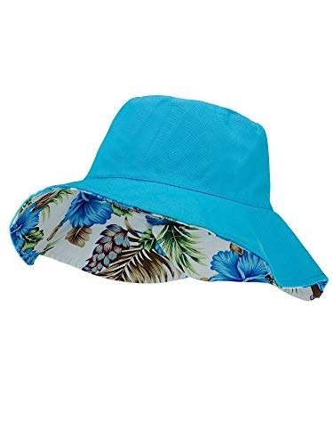 C.C Women's 100% Cotton Crushable Bucket Ponytail Messy Bun Sun Hat Reversible ()