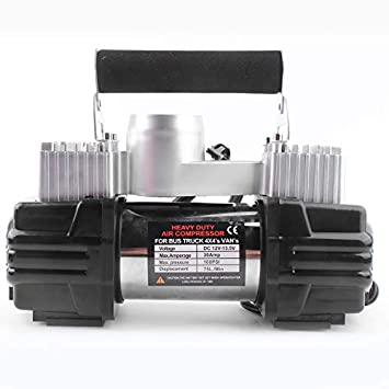 Pudincoco Compresor de Aire de tamaño portátil de 12 V Neumáticos Neumáticos de Acero Inoxidable Inflador