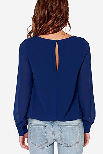 Split Femmes Cou Dazosue Occasionnel en Chemises Ras Longues Manches du Soie De Bleu Mousseline De Chemisier AUAIwpq