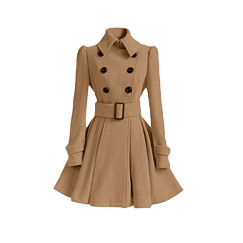 LANMWORN Women's Lapel Woolen Double-Breasted Pea Coat Trench Jacket With Belt, Big Swing Dress Style Buckle Coat Breasted Dress Coat