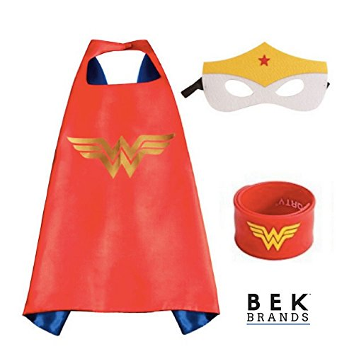 Bek Brands Wonder Woman with Snap Bracelet Superhero Cape and Mask Set