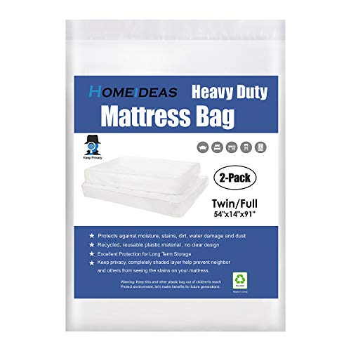 (HOMEIDEAS 5 Mil Extra Thick Mattress Bags for Moving and Storage, Not Clear Opaque Mattress Moving Cover, Protecting Mattress and Privacy, Fits Twin and Full Size, Pack of 2 )
