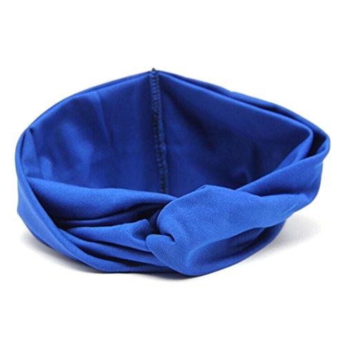 [VESNIBA Women Headwear Cross Sport Yoga Cloth Headband Turban Headscarf Wrap (Free Size, Blue)] (Tuxedo Mask Costume Sale)