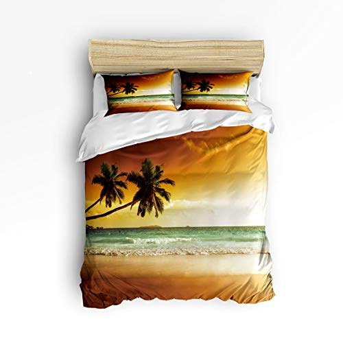 - 3 Piece Polyester Fabric Bedding Set with Zipper Closure Twin Size, Sunset Beach Coconut Tree Wind Wave Comforter Cover Set Duvet Cover with 2 Pillow Shams for Girls/Boys/Kids/Children/Teen/Adults