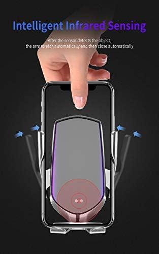 IPhone 11/11プロ/ 11プロマックス/ MAXのX/XR/XS/X /ギャラクシーノート10 / S10 / S10プラス/ S10E / S9に対応した無線車の充電器マウント、チー認定10W高速ワイヤレス充電、,金