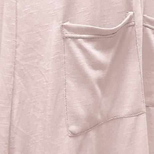 SMILEQ Vestido de Mujer Summer Boho Solid Holiday Falda O-Cuello ...