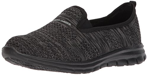 U.S. Polo Assn. Women's Women's Malory-K Oxford Flat, Black/Dark Grey/Black, 7 M US