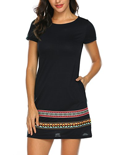 Sweetnight Womens Short Sleeve Fashion Embroidered Tunic Dress A Line Loose Casual Swing T-Shirt Dress with Pockets (Black, (Embroidered Hem Dress)