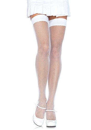 Leg Avenue Women's Nylon Fishnet Thigh Highs, White, One Size