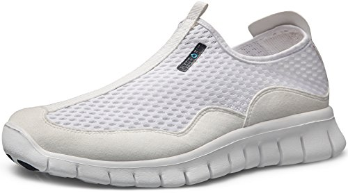 TSLA Men's Lightweight Sports Running Shoes, Lightweight Flex(l514) - White, 9