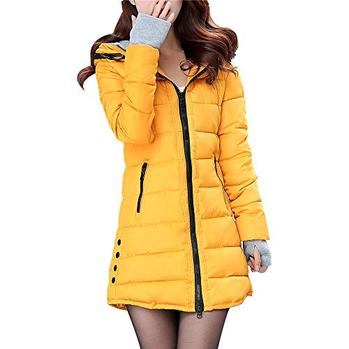 - Women Long Sleeve Outerwear with Gloves Cotton-Padded Solid Zipper Pocket Hooded Coat(M,Yellow)