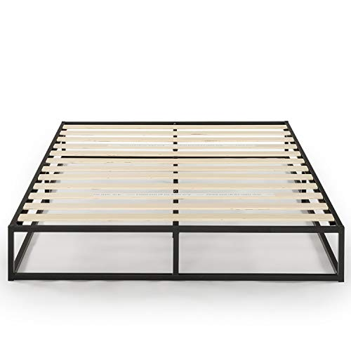 Mellow Queen 10 inch Metal Platform Bed Frame Type w/Classic Wooden Slat Support Mattress Foundation (No Box Spring Needed), Black