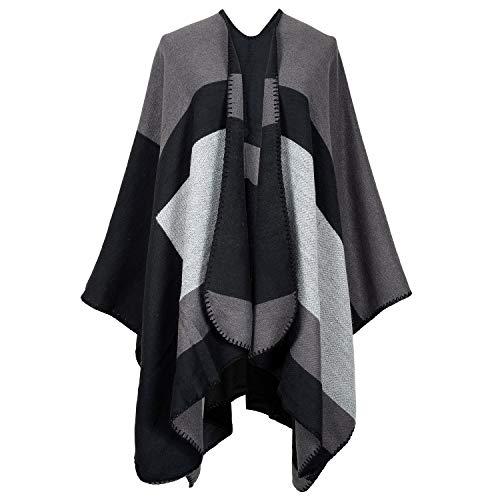 Women's Dinner Party Cloak Bridal Hoodie Shawl Wraps Cloak Coat Tassel Plaid shawl scarf (Black112) ()