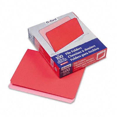 (File Folder, Straight Tab Cut, Letter-Size, 100/BX, Red)