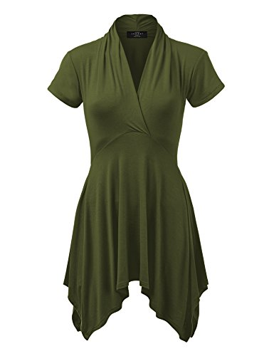 WT1120 Womens Cross V Neck Short Sleeve Empire Line Panel Tunic Top M Olive]()