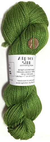Artisan Yarns Hand Dyed Alpaca Silk Yarn, Solid Avocado, Dk Weight, 100 Grams, 245 Yards, 70/30 Baby Alpaca/Mulberry ()