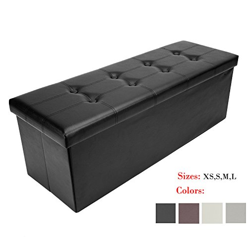 Bonnlo Leather Folding Organizer Seat Storage Ottoman Bench, Footrest Stool Coffee Table Cube Portable Camping Fishing Stool,Clutter Toys Collection Quick and Easy Assembly 43x15x15 Inches (Balcony Storage Box)