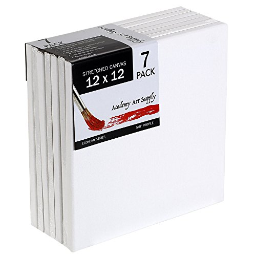 12 X 12 Inch Stretched Canvas Value Pack of 7 Square Size