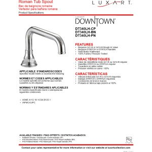 Luxart DT340LH-BN Downtown 2-Handle Roman Tub Faucet Less Handles Brushed Nickel