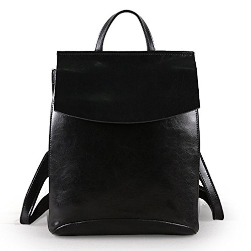 (jvp1088-r1) Lucky Cow Cowhide Leather Backpack Red Wine 3way Shoulder Bag Simple Bag Waterproof Ring Girls Travel To Popular Fashion Cute Black 1
