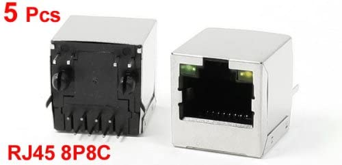 uxcell 5Pcs RJ45 8P8C PCB Jacks 2 LED Vertical Mount Connectors Ethernet Sockets