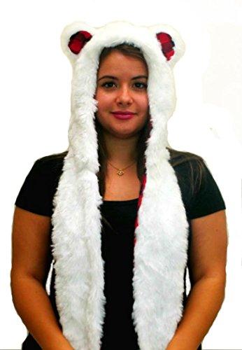Polar Bear Anime Spirit Paws Ears Faux Animal Hood Hoods Mittens Gloves Scarf New (Bear Hood With Paw Scarf)