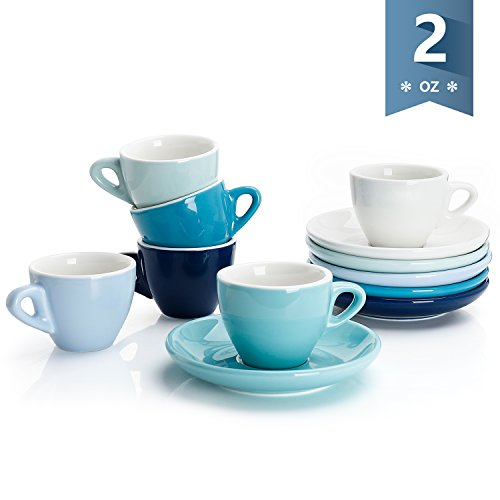 Cups Safe Saucers Oven (Sweese 4308 Porcelain Espresso Cups with Saucers - 2 Ounce - Set of 6, Cold Assorted Colors)