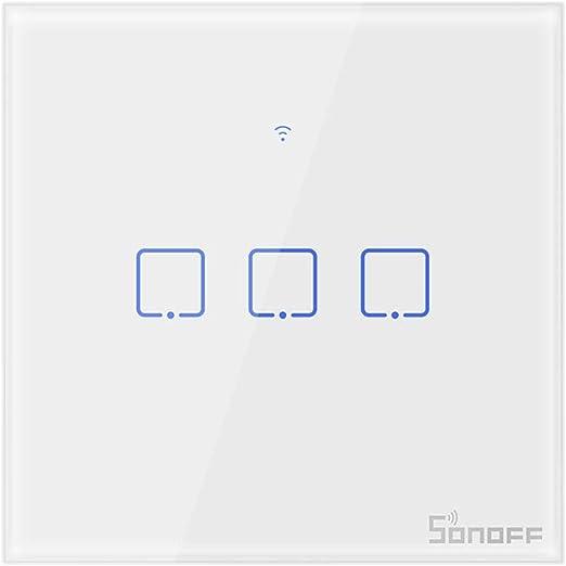 Interruptor táctil de Pared WiFi Alexa 1Botón, Domotica WiFi Interruptor Inteligente de luz con Pantalla táctil, Pulsador de Cristal Compatible con Alexa y Google Home Interruptor de Reloj: Amazon.es: Hogar