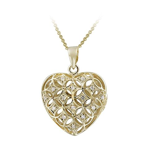(Glitzs Jewels Gold Tone Over Sterling Silver Cubic Zirconia Puffed Heart Locket Necklace, 18'')