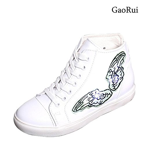 Gaorui Women Light Platform Shoes Lace Up Sneakers LED Round Toe Wing High Top Trainers White