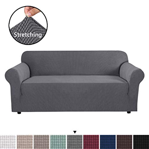 H.VERSAILTEX High Stretch Sofa Cover 1 Piece Couch Covers, Lounge Covers for 3 Cushion Couch, Sofa Slipcover for Living Room, Sofa Cover Stretch, Lycra Jacquard Sofa Slipcover 3 Cushion (Sofa: Gray) (Sofa 90 Cover)
