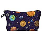 LiPing 8.6in Letters Printing Handy Bag Travel Cosmetic Clutch Bag Makeup Case Pouch Toiletry Wash Organizer for Travel Toiletry Beauty Bag for Women (D)