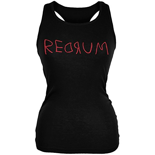 Old Glory Halloween Horror Redrum Black Juniors Soft Tank Top - Small