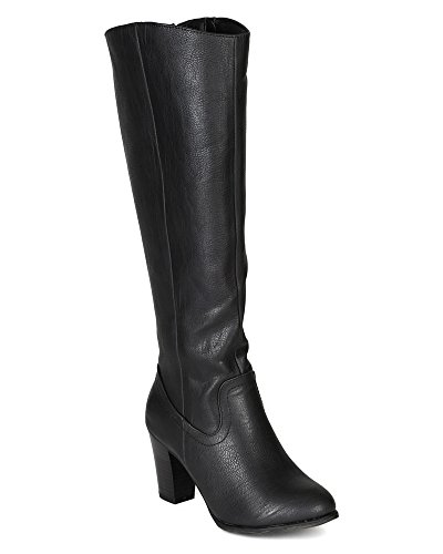 Breckelles BE77 Women Leatherette Chunky Heel Knee High Riding Boot - Black (Size: 8.0)