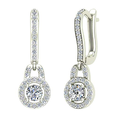 0.81 ct tw I I1 Dangle Drop Shape Halo Diamond Earrings 14K White Gold