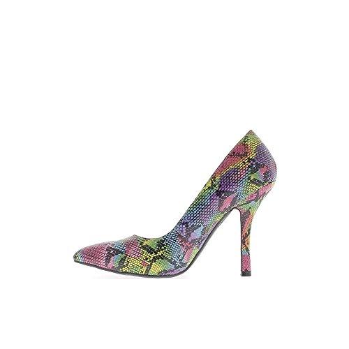 Escarpins femme grande taille multicolores à talon de 12cm bouts pointus écailles