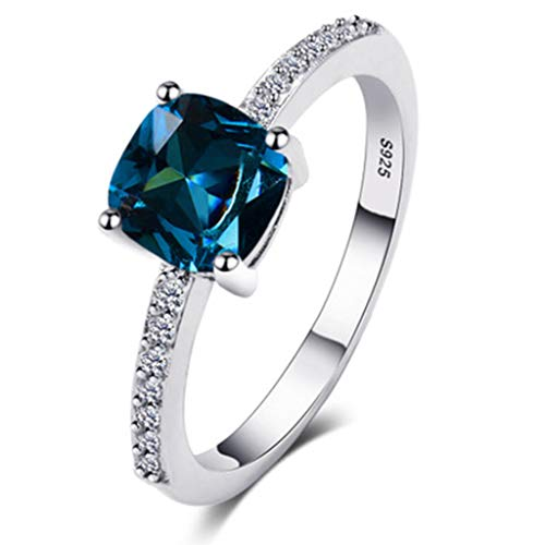 FEDULK Womens Simple Jewelry Ring Geometric Side Square Ring Jewelry Wonderful Gift for Friend(7, Sky Blue)