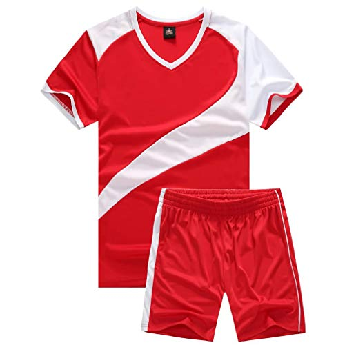 (Soccer Uniforms for Men Sports Jersey and Shorts Set Short Sleeve Shirts Red Size XL)