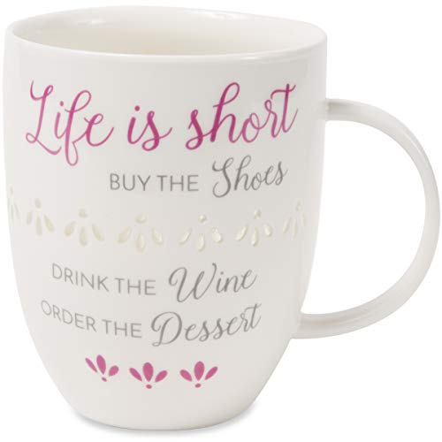 Pavilion - Life Is Short By The Shoes Drink The Wine Order The Dessert - Pierced patterned Large 24 oz Coffee Mug Tea Cup