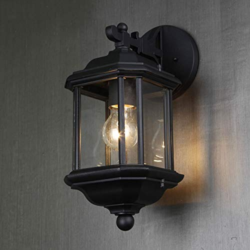 (TheMonday Square Glass Outdoor Wall Lamp Fixture Waterproof Aluminum Balcony Wall Sconce Lights Landscape Patio Aisle Corridor E27 Edison Wall Lighting (Color : Matte Lampshade-S))