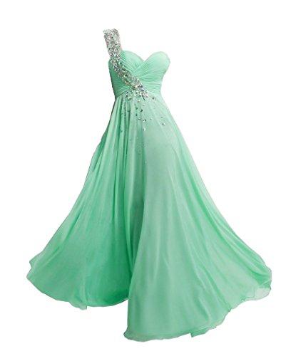 JAEDEN Un hombro Vestidos de baile Largo Gasa Vestido de noche Vestido de la dama de honor Menta