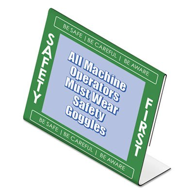 - NuDell 35485SFG Safety First Border Sign Holder, Desktop, Side, Green/White/Clear, 11 x 8 1/2