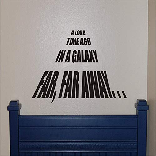 Wall Mural DIY Removable Sticker Decoration Star Wars Quote Vinyl Wall Decal Along time ago in a Galaxy far, far Away Stickers for Nursery Kid Bedroom playroom ()