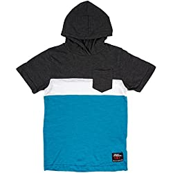 No Fear Boys Short Sleeved Knit Hoody T-Shirt in Grey/Blue. S-XL.